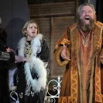 Rosalind Blessed, Sarah Gobran and Brian Blessed as Goneril, Regan and Lear