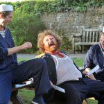 Alex Scott Fairley, Michael Geary and David Marken as Pistol, Sir John Falstaff and Nym