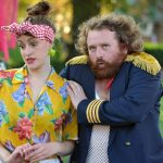 Louise Best and Michael Geary as Mistress Quickly and Sir John Falstaff in The Merry Wives of Windsor
