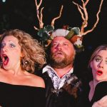 Sarah Gobran, Peter Gordon and Emma Fenney as Mistress Page, Falstaff and Mistress Ford