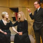 Hannah Morrish, Miranda Foster and Stefan Bednarczyk as Helen, the Countess of Rousillon and Lafew