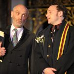 Edward Halsted and Matt Pinches as Polonius and Laertes